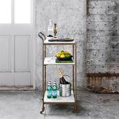 Arianna Modern Classic Brass Frame 3-Tier Marble Bar Cart – Bar cart decor