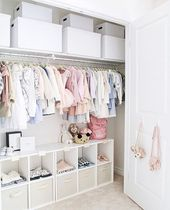 Baby Ilustration Sweet baby girls nursery closet design with Ikea curtains#baby #closet #curtains...