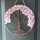 Cherry Tree- Wire Tree of Life Wall Hanging in Rose Quartz, Solar Catcher, Rose Quartz, Love in Bloom