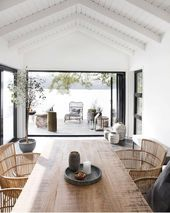 High white washed ceilings, rustic wooden dining table and the most amazing … – Decoration by yourself