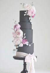 Schwarze und rosa Hochzeitstorte Idee. #blackandpinkweddingcake Baumwolle und Krümel | W …   – chocolate wedding cakes