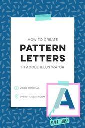 Illustrator Shortcuts  How to Create Pattern Letters in Adobe Illustrator   video tutorial via Teela   ...