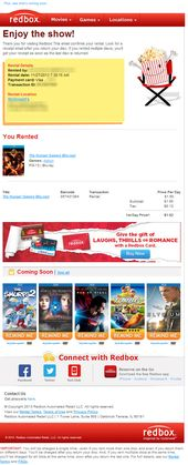 Sl Thanks For Using Redbox Enjoy The Show Transactional Receipt Email From Redbox Email Design Inspiration Rent Games Redbox