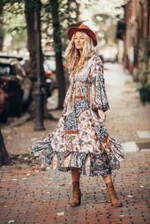 Der ultimative Boho-Chic-Herbststil mit diesem fabelhaften Maxikleid von Outdazl. – Tageskleider