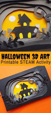 Halloween Paper Craft in 3D (FREE Printable)