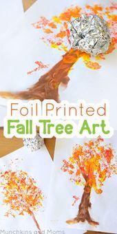Folienbedruckte Herbstbaumkunst! Dies ist ein großartiges Kunstprojekt für den Herbst im Vors…