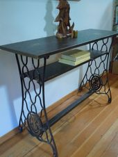 Distressed Pine Console Table with Vintage Singer …