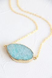 Amazonite Necklace Raw Crystal Necklace Natural Crystal Necklace