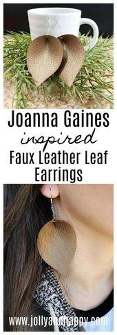 Joanna Gaines-Inspired Kunstleder Blatt Ohrringe -…