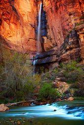 Waterfall at Temple of Sinawava, Zion Narrows, Uta…