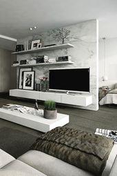 20 idées de décoration murale modernes et minimalistes pour la télévision