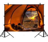 Tält 5x7ft Camping Mountain Sunrise Polyester Photo Background Portrait