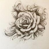 Die erste Zeichnung von 2016, aber der Kunde will nur die schlichte Rose in der Mitte … – Tattoos – #client #drawing #middl #plain #Rose