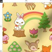 Baby Tiere Stoff – Happy Forest von Tsai-Fi – Wald Fox Deer Bunny Rabbit Rainbow Baumwollgewebe   – Products