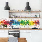 Photo of Ebern Designs PVC splash protection panel Azucena Rainbow Splatter | Wayfair.de