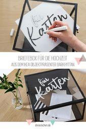 DIY und Deko-Ideen zur Hochzeit mit IKEA: Sitzordnung, Tisch-Nummern und Briefe-Box #dreimalanders // Werbung