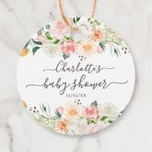 Blush Roses & Peonies Baby Shower Favor Gift Tag | Zazzle.com – baby shower ideas