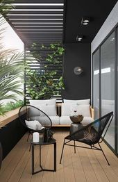 Love the moody mid century look of this patio.