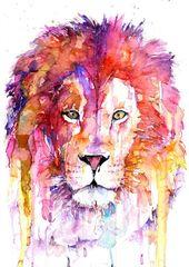Artikel ähnlich wie Original Lion Aquarell Kunstdruck, Aquarell Kunstdruck