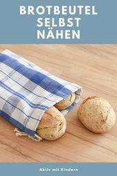 Baumwollsäckchen / Brotbeutel selbst nähen. Aus alten Küchentüchern.