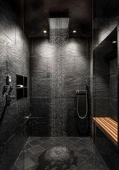 Badezimmer, Deckenbeleuchtung, Duschkabine, Schieferboden und Steinfliesen – #Badz