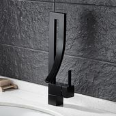 Modern Creative Design Single Lever Handle 1-Hole Bathroom Sink Faucet with Waterfall Spout in Matte Black Brass