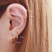 Zum Verkauf solide 14k Perle Gold Hoop – Perle Creolen – Perle Ohrring.   – Ohrring