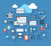 Vector illustration of hardware and cloud computing concept on blue background with long shadow.  Archive also contains high resol