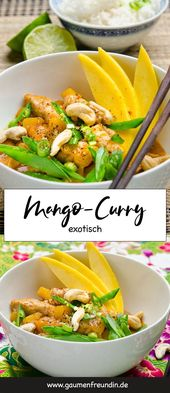 Exotic mango curry with mangetout and cashew nuts