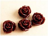 40% RABATT auf 4 bunte 10 mm schokoladenbraune Rosenblüten-Cabochons, Blumenkästen für Ringe, Ohrringe