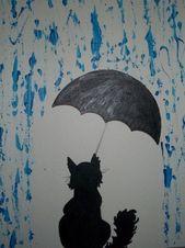 Silueta de pintura de gato #paintingsubjects #painting #subjects #inspiration, #cat #inspiratio …