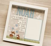 Personalisiertes Geschenk für Geburt im Rahmen, Babyrahmen, Taufgeschenk, Geschenk für Geburt, Rahmen für Geburt   – Karten Baby