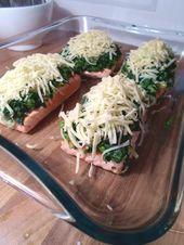 Gebackener Lachs mit Spinat und Mozzarella