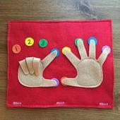 Los dedos cuentan lado; Libro silencioso para niños pequeños, bolsa ocupada, libro de viajes, juegos preescolares, actividades educativas, aprendizaje, tiempo tranquilo, contar manos   – Ruhiges Buch