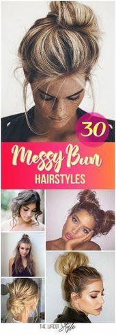 50 Chic Messy Bun Hairstyles,  #bun #Chic #Hairstyles #messy