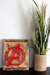 Avengers String Art Sign – Marvel Comics = Super Hero Wall Art – String Art – Av… – DIY