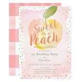 Sweet as a Peach Pink Girl 1st Birthday Invitation | Zazzle.com – Babies