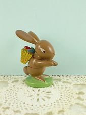 This Charming Vintage Easter Bunny Figurine Was Hand Crafted In The Erzgebirge Region Of Germany Circa The 1960s Thi Wooden Rabbit Easter Bunny Bunny Figurine