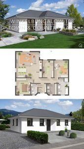 Massivhaus Bungalow weiß modern mit Walmdach, Winkelbungalow Grundriss mit Haus Fassade