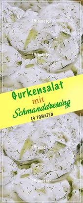 Ensalada de pepino con aderezo de crema agria # Cocina #Rezepte #fácil # delicioso   – Salaaaat