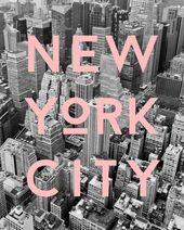 New York Photography, NYC Typography Print, Graphic Black and White Aerial of New York with Pink Type, Contemporary Art   – All