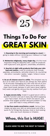25 Dinge, die du für eine tolle Haut tun solltest   – douglastan