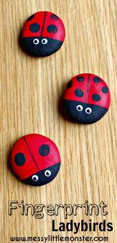Fingerprint ladybird keepsake magnets
