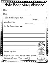 Absence Note Form Free From Kindergartenworks  Kimoschool