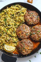 Tacky Garlic Burgers with Lemon Butter Zucchini Noodles