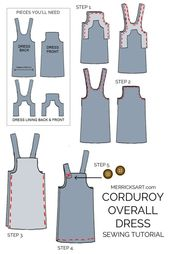 How to Make A Corduroy Overall Dress (Sewing Pattern) | Merrick's Art –  learn how to make this cute corduroy overall dress!  – #Art #corduroy #dress …