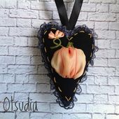 Halloween Herz Ornament schwarz Orangenbaum Dekor Ribbon Stickerei Halloween Stoff Herz Shabby Weihnachtsgeschenk für Frau Unique Herz Dekor   – Halloween ideas