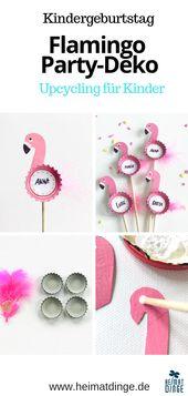 Nachhaltige Party zum Selbermachen: Wiederverwendbarer Flamingo Party Picker von Bottle Caps –   – DIY Kindergeburtstag