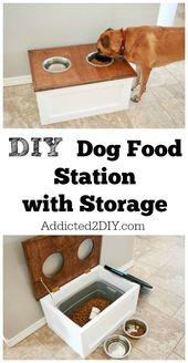 Laden Sie die kostenlosen Pläne und Anleitungen für diese DIY-Hundefutterstation mit Aufbewahrung herunter