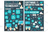 Information technology posters , #Sponsored, #brochure#architecture#online#Vector #AD #infographicsarchitecture Information technology posters ,